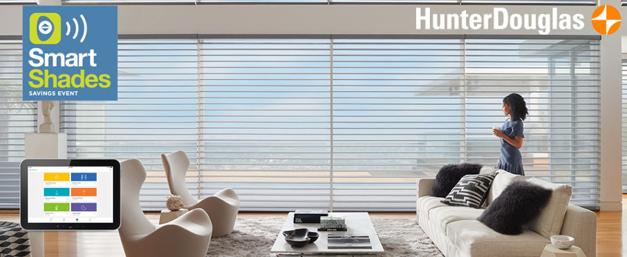 Hunter Douglas Smart Shades Savings Event for smart motorized window coverings.